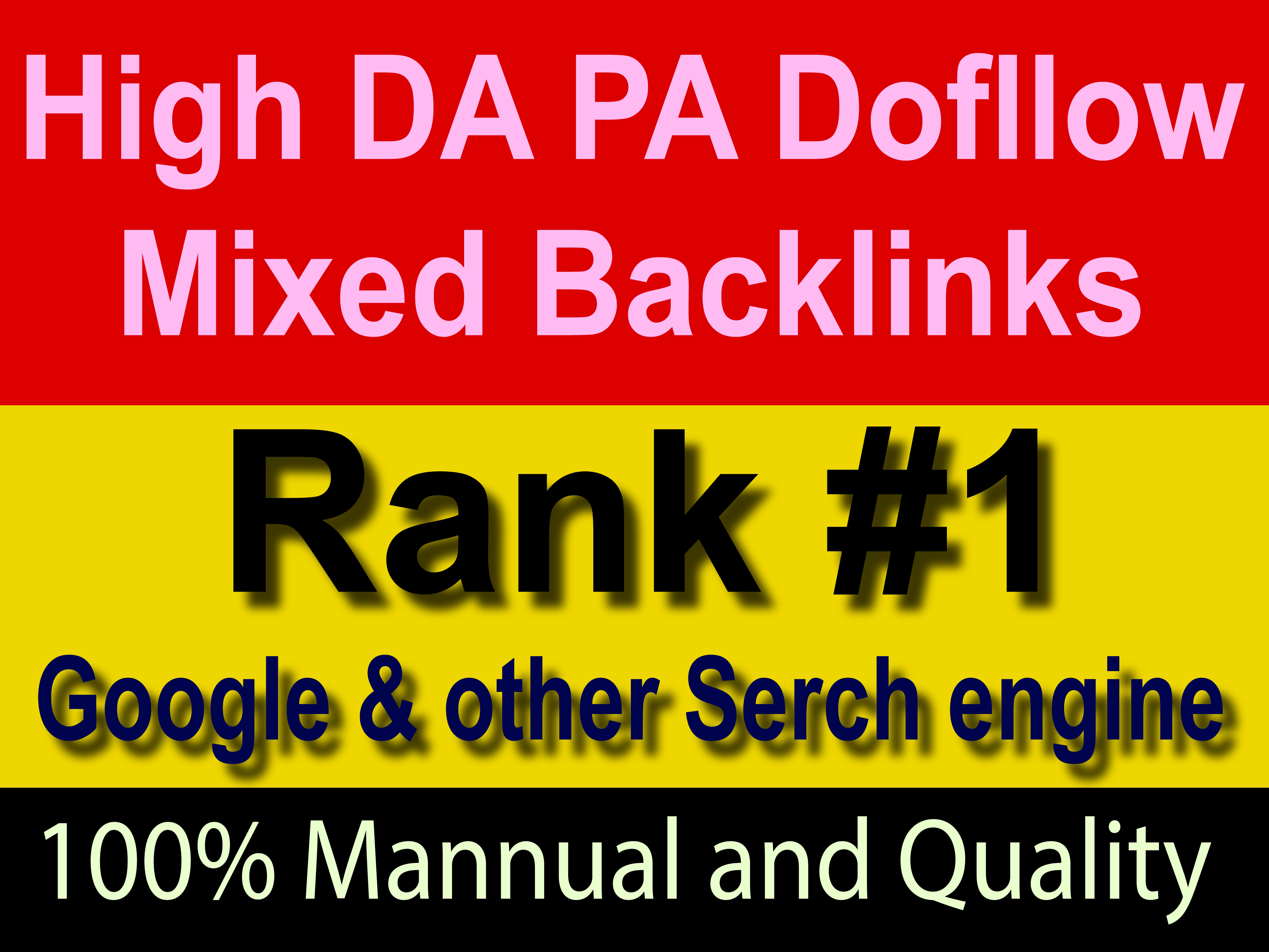 All Unique manually 31 DA90+ Mixed Permanent Backlinks help to rank Google No 1 quick