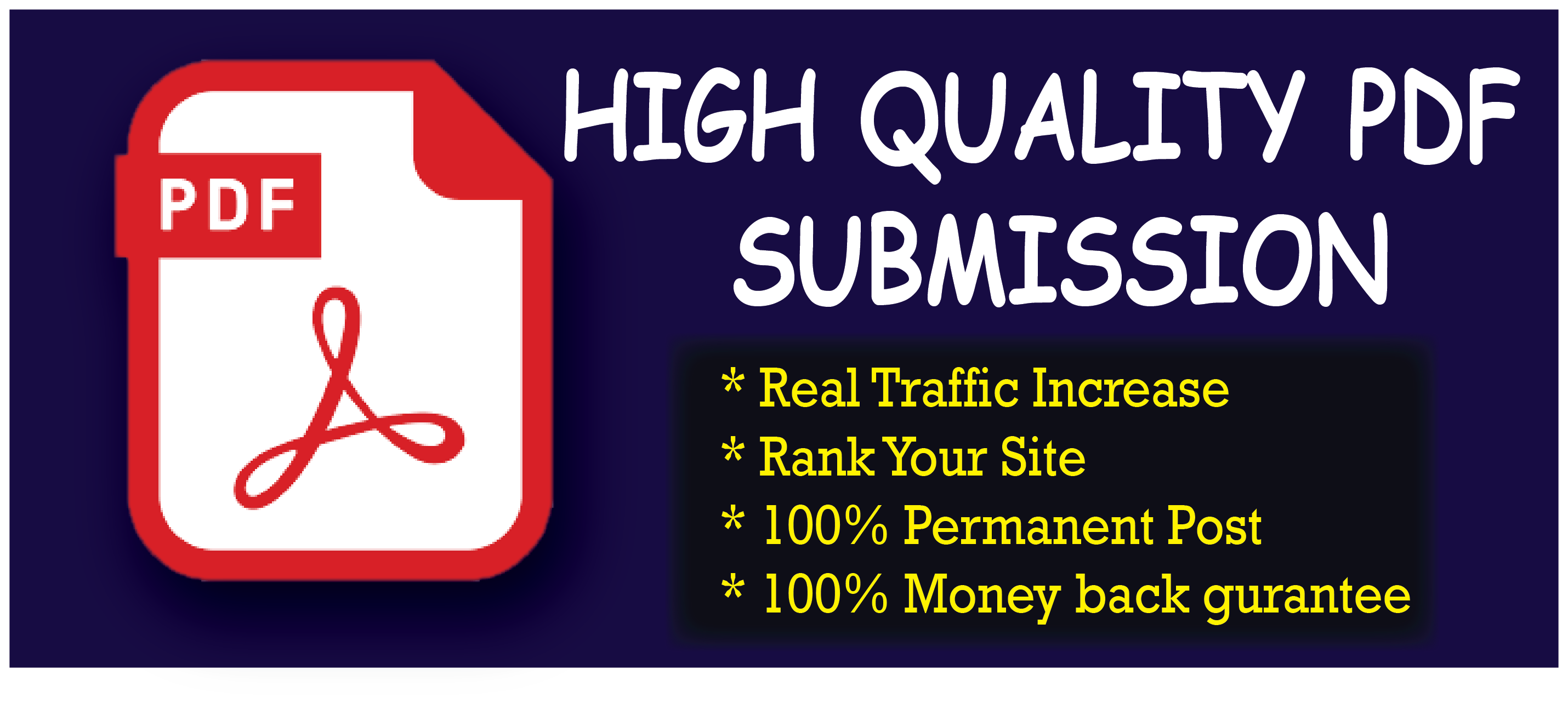 I Will do Manually 30 HQ PDF Submission Sharing Site Permanent Post