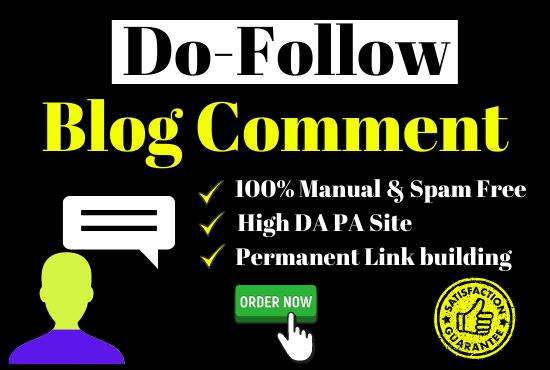 50 Unique & High Domain Authority Do-Follow Blog comment Permanent Link building