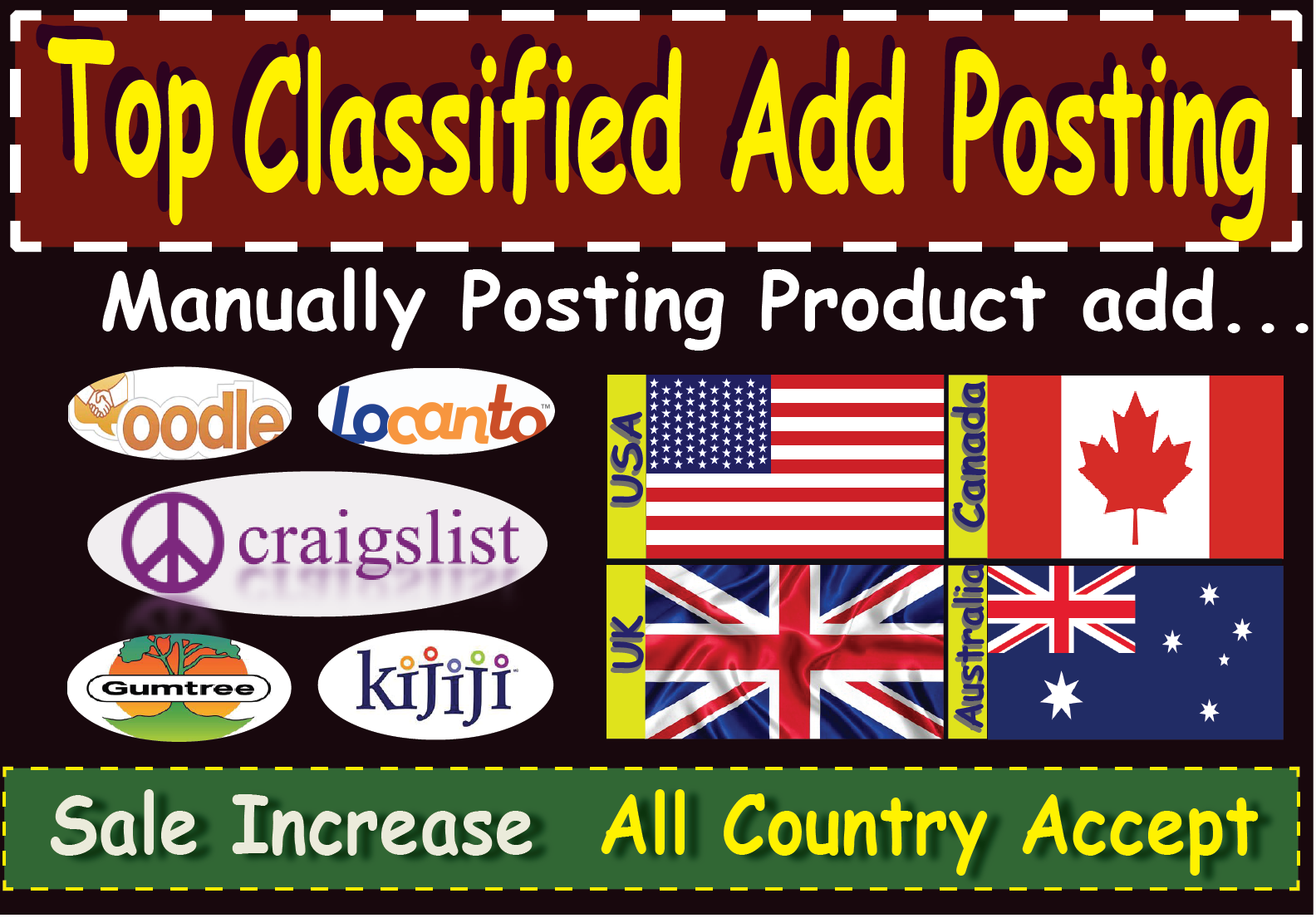Post your ads by 15 top classified site promote your product for increase sale
