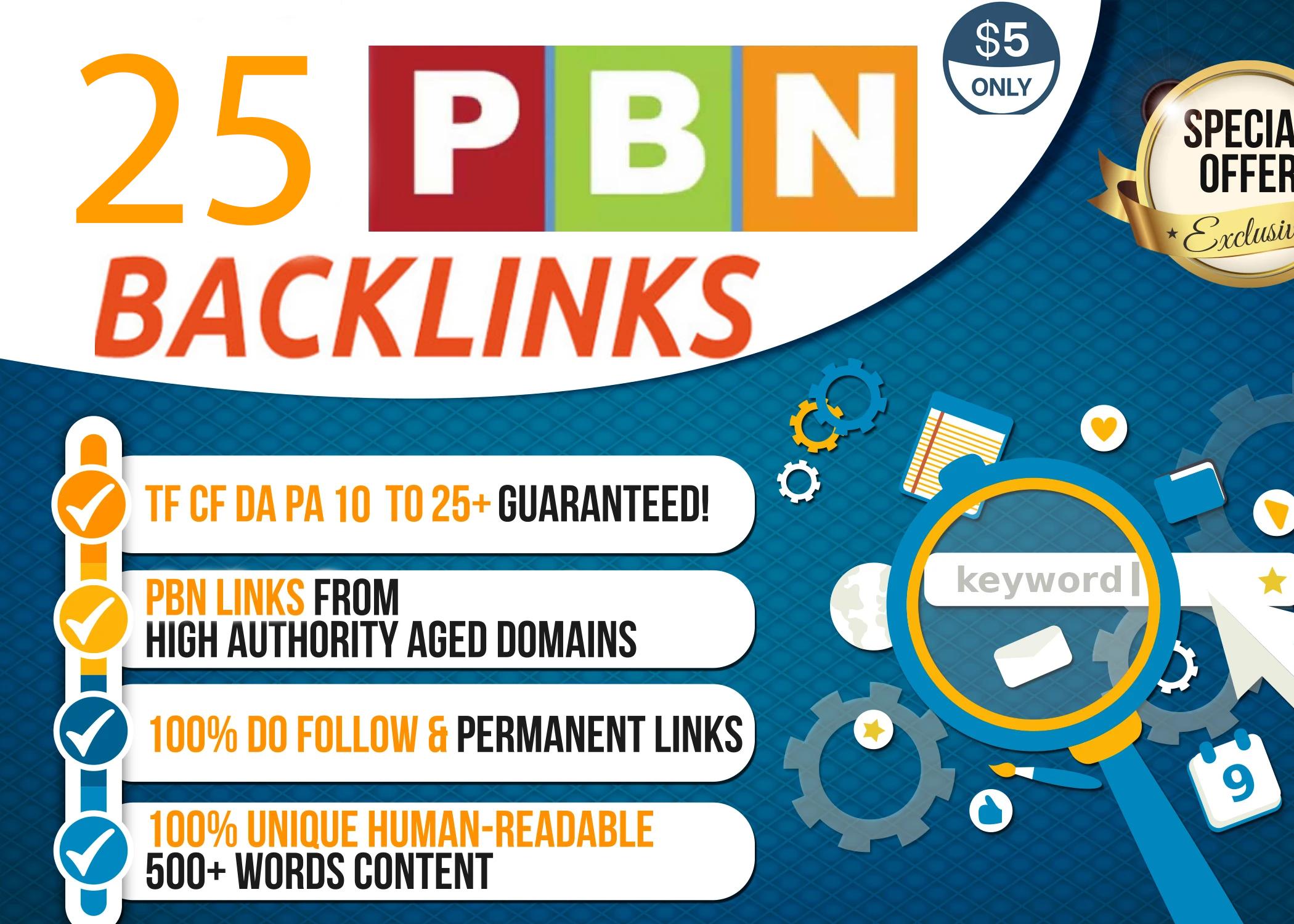 I build 25 manual pbns high quality Dofollow backlinks