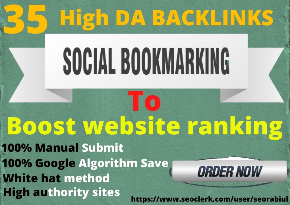 Manually Provide 35+ Social Bookmarking On 40-90 High DA Authority Sites
