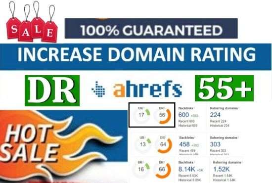 I will increase domain rating DR on ahref 50 plus quickly