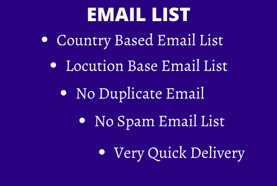 I will 100 niche targeted Email List for your business