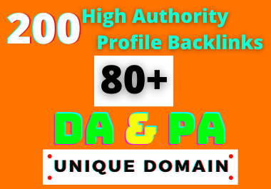 200 HQ Dofollow DA/PA 80+ Social Profile Backlinks Manually