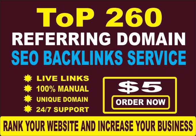 I will do 260 referring domains SEO backlinks for website ranking