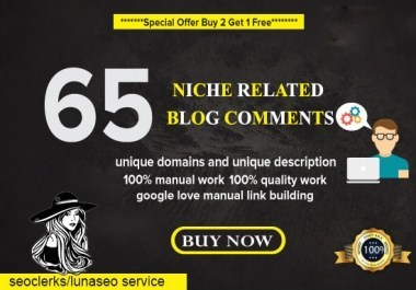 i will create 65 Niche High Quality Blog Comment
