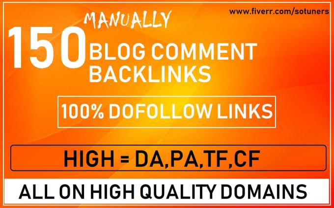 I will create manually 150 unique domain dofollow backlinks on 20+ high DA PA