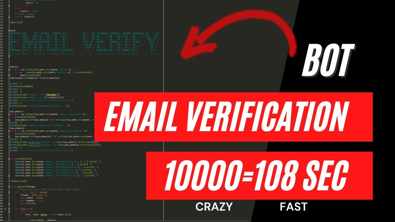 I wil give you fastest email verification software on the market
