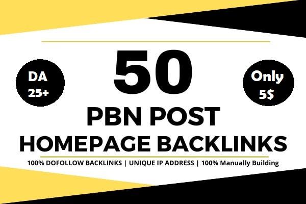 50 powerful SEO permanent PBNs backlinks high DA 25+ homepage