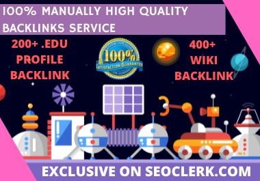 Manual 200+ High DA + EDU& GOV Profile Backlinks+ 400+ WIKI backlinks to get google Ranking improves