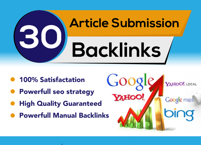 I will provide 30 unique article submission unique domain backlinks