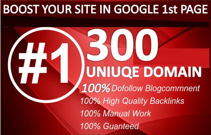 I will do 300 uniuqe domain blog comment backlink on high da30 plus pr10 wesites