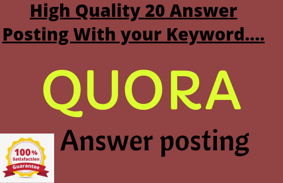 Promote your website with 20 High quality QUORA Answer with your keyword and Url