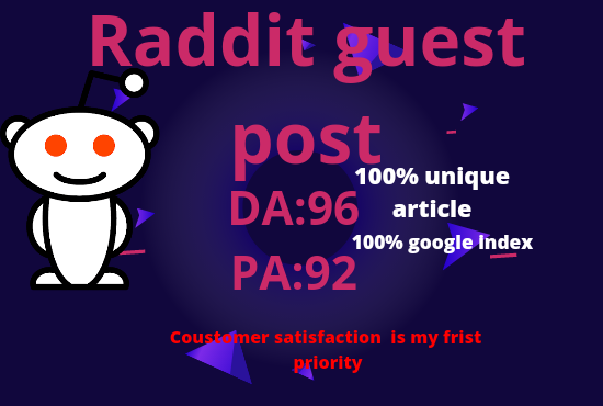 Publish your website with 5 guest post on raddit with 100% Unique article