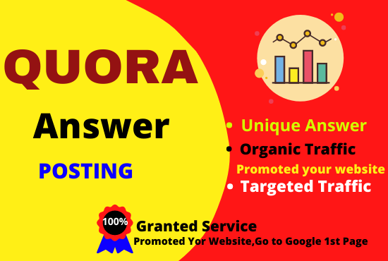 Promote your website granted 10 high quality Quora answer Backlink