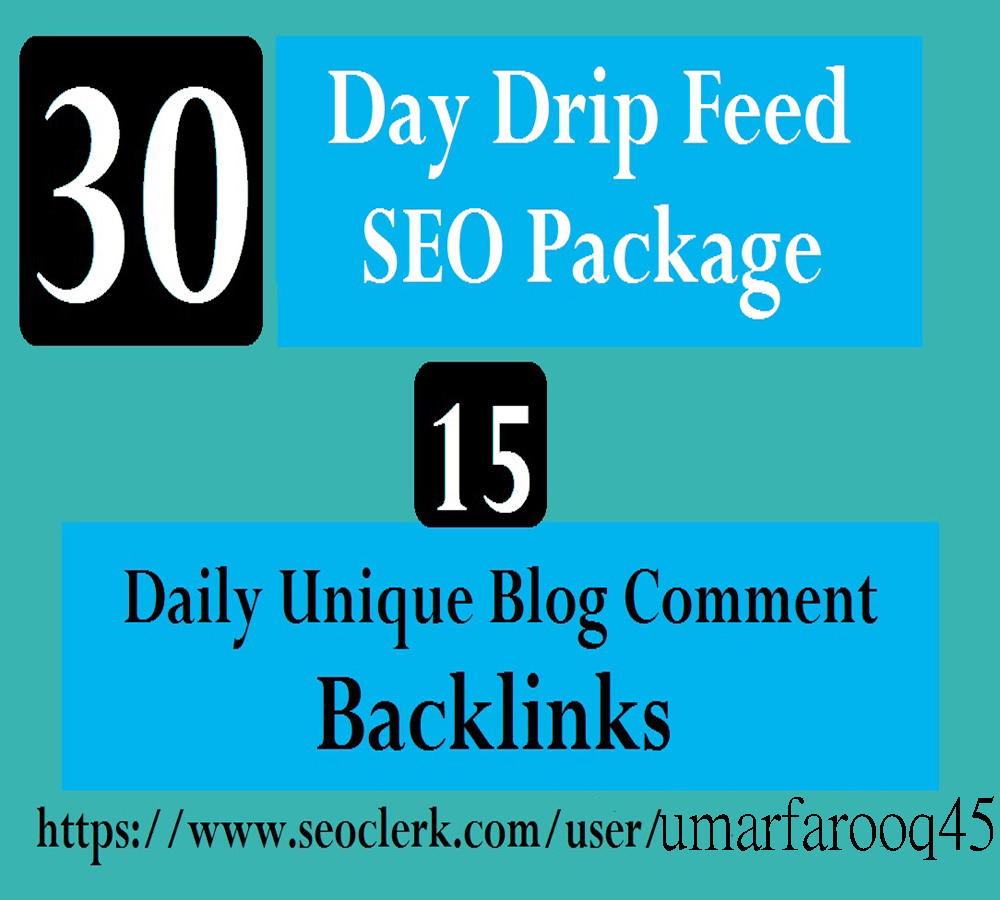 I Will provide Do 30 Days Drip Feed SEO Package 15 Daily Unique Blog Comment Backlinks