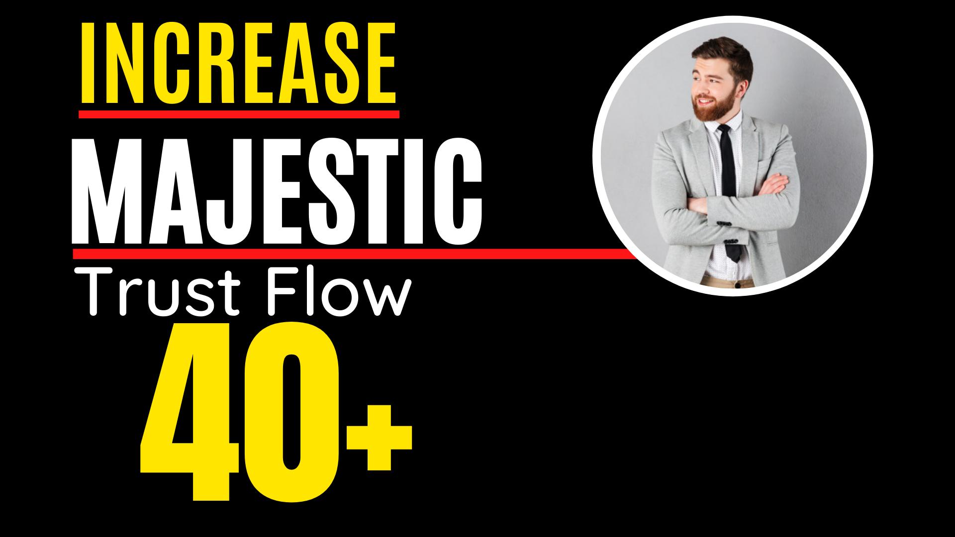 I will increase Majestic trust flow,  majestic tf 40plus guaranteed