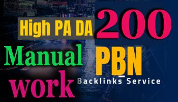 I will do Manual work 200 permanent pbn backlinks da pa Authority