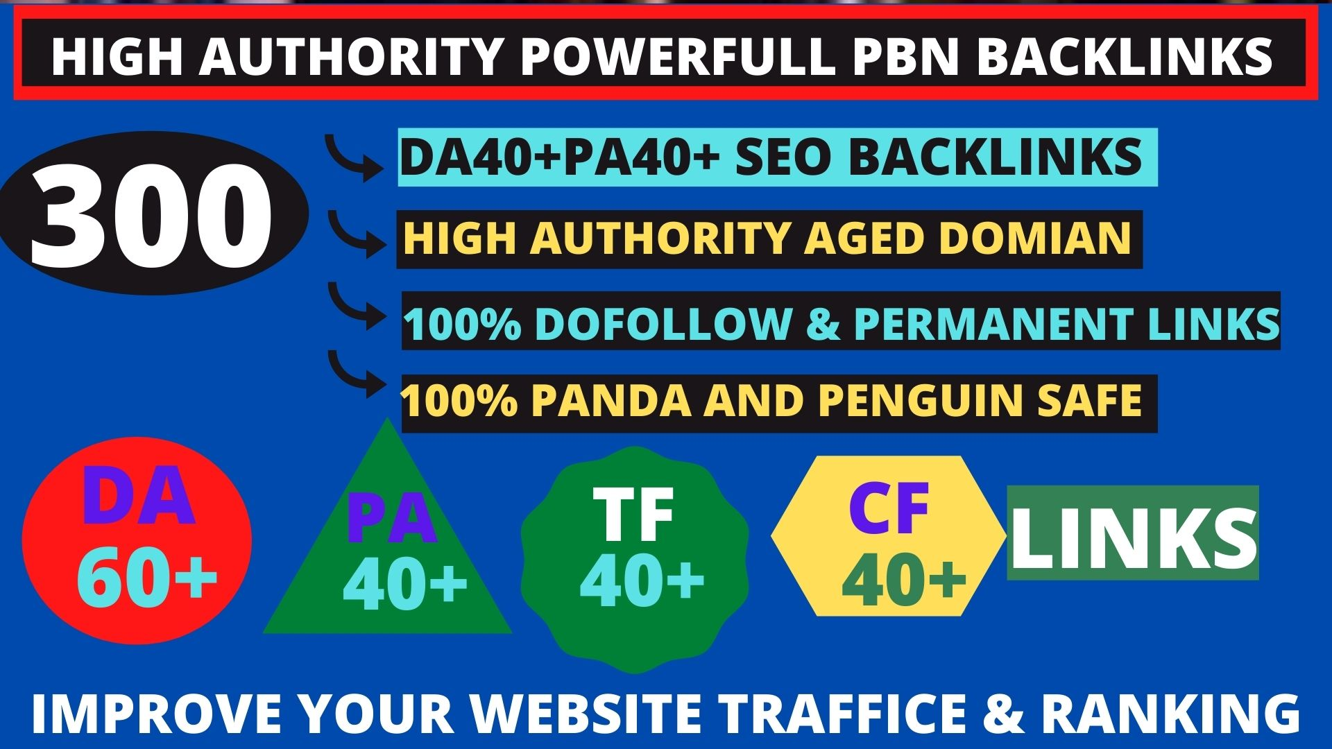 Get powerfull 300+ pbn backlink with high DA/PA/TF/CF on your homepage with unique website