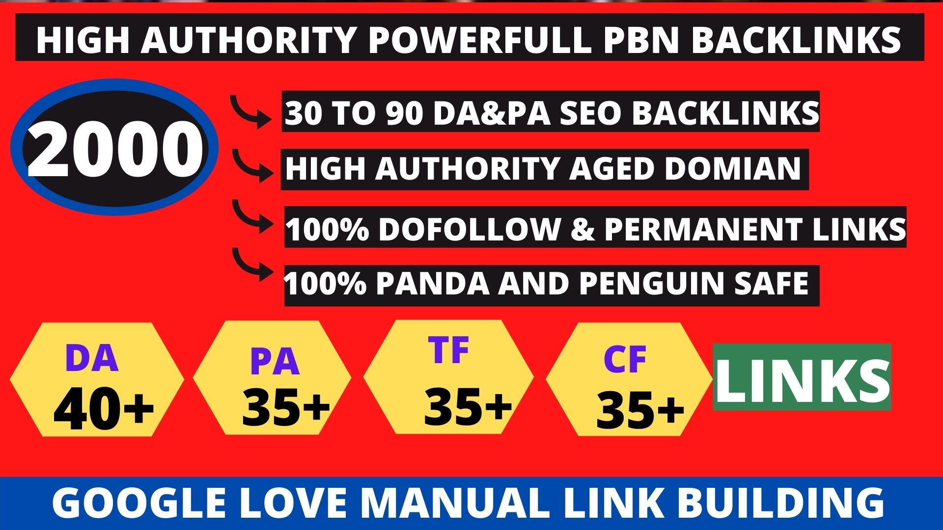 Get powerfull 2000+ pbn backlink with high DA 40+PA35+PR6+ homepage with unique website