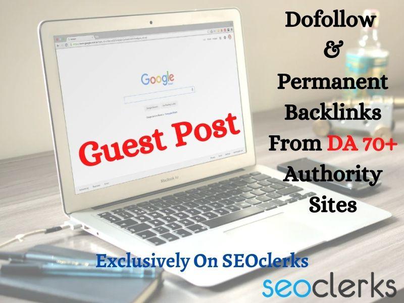 SEO Guest Blogging Provide Dofollow Backlinks DA 70+
