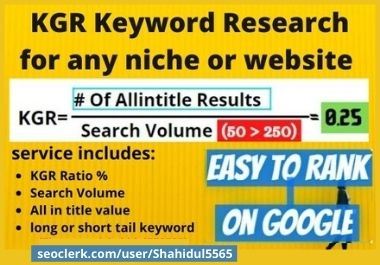 30 Best KGR keyword research for any niche or Keyword