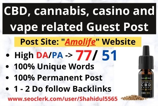 Publish CBD guest post on the high DA website