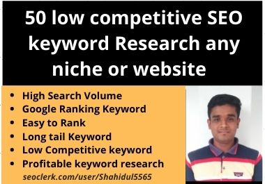 50 low competitive SEO keyword research any niche or website
