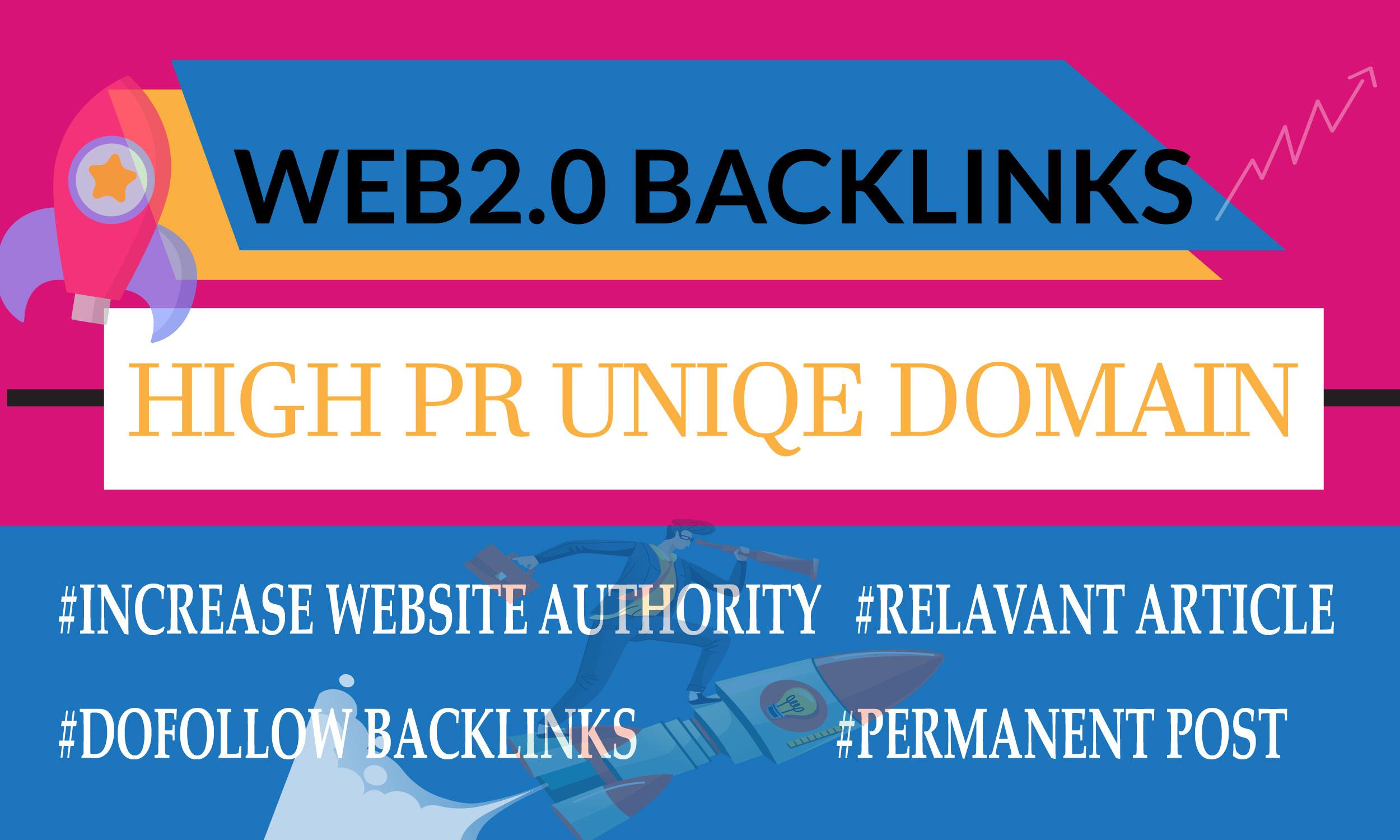 I will build high PR 20 web2.0 backlinks manually