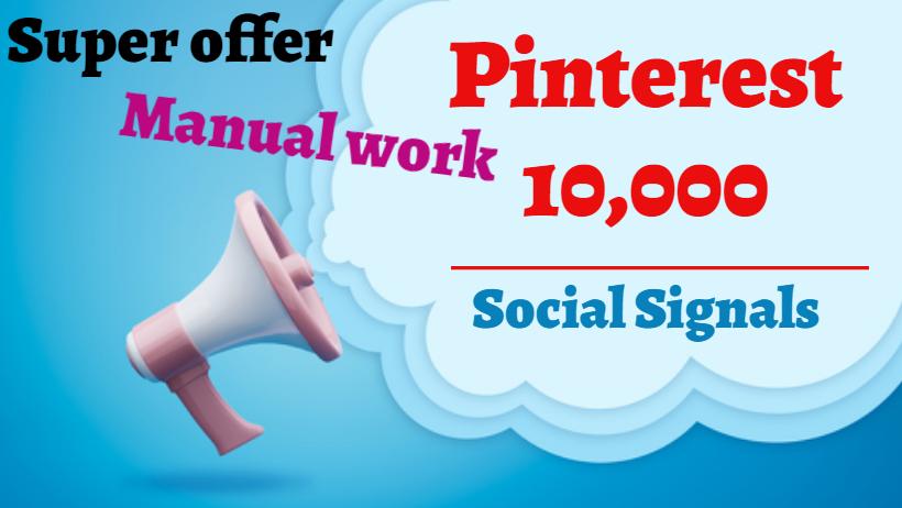 provide you 10,000 Pinterest Social Signals SEO Google Ranking PBN Traffic Bookmark Marketing