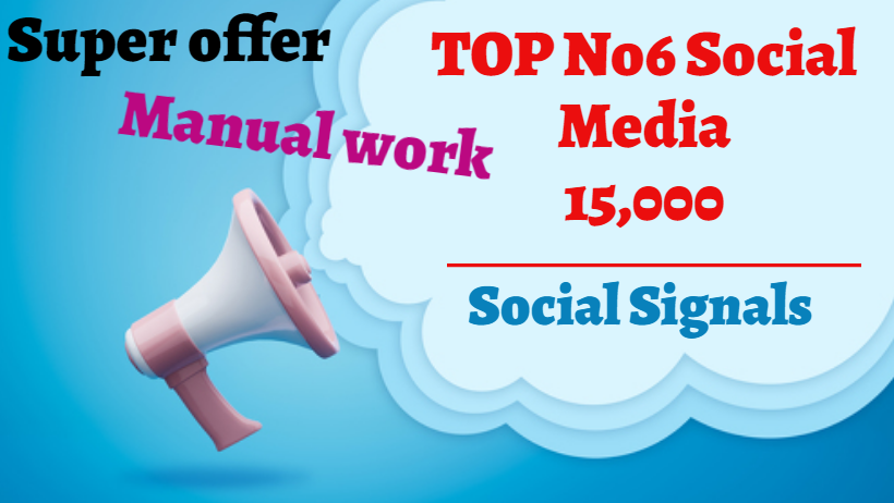 Great Top 6 Powerful Platform SEO 15,000 Social Signals Share Bookmarks Important Google Ranking