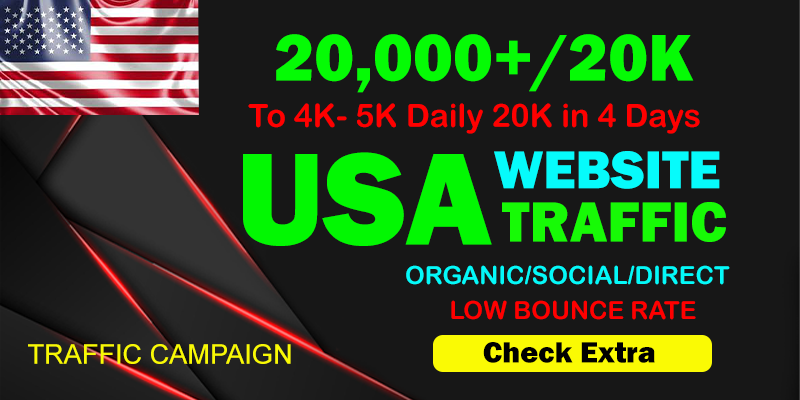 I will Drive Organic 20,000 Traffic From The USA To Your website within 4 days.