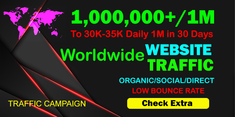 I will Drive Organic 1,000,000 1 Million Traffic From The Worldwide To Your website within 10 days.