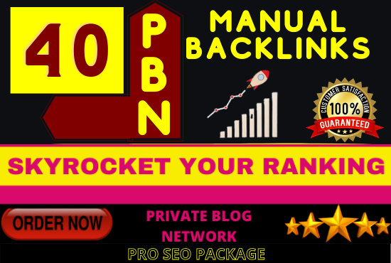 I will build 40 PBN Backlinks on High DA PA CF TF + All work Manually Done