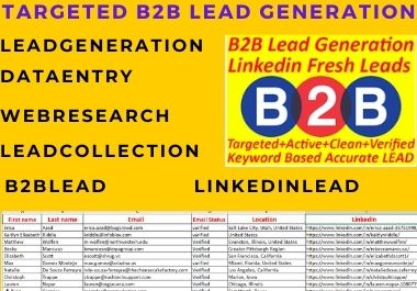 I will do targeted b2b lead generation from linkedin, web research
