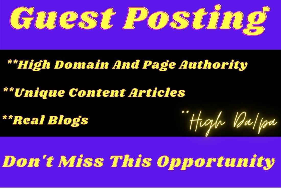 I will do published 8 guest posts da 90+ high authority sites Permanent links