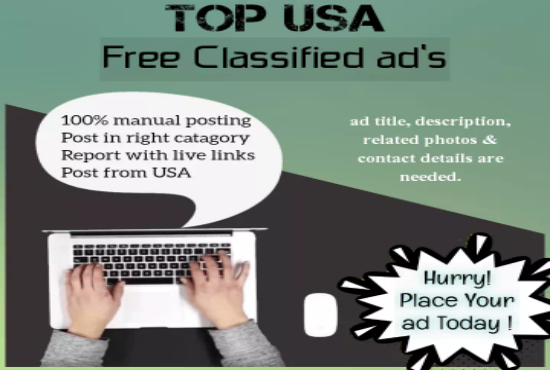 I will post 50 ads on top rank USA classified ad posting site