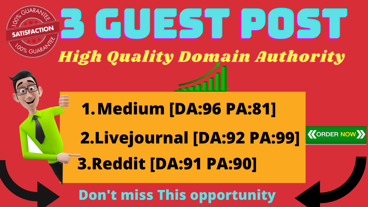 I will build 3 high quality guest post backlinks
