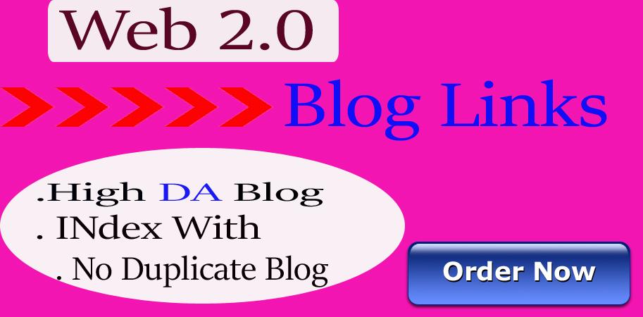 Build 20 High Quality Web2.0 Blogs high DA+40