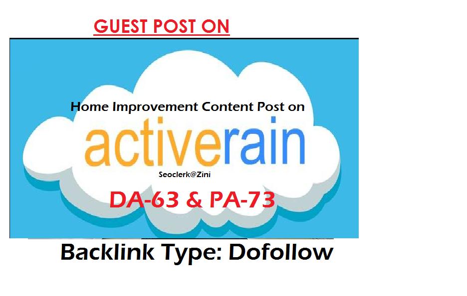 Can publish home improvement content on Activerain.com DA-63