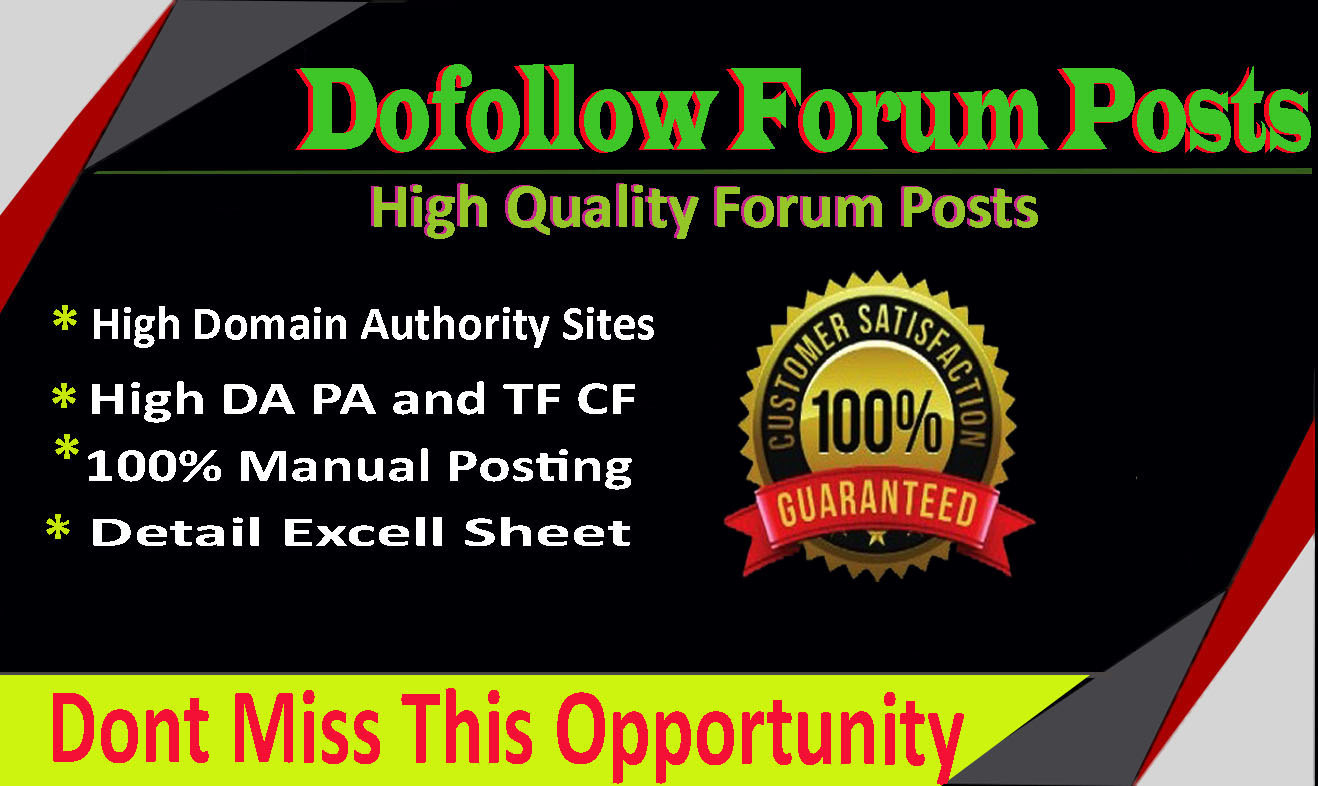 I will create high quality 50 dofoll0w forum post backlinks on high da sites
