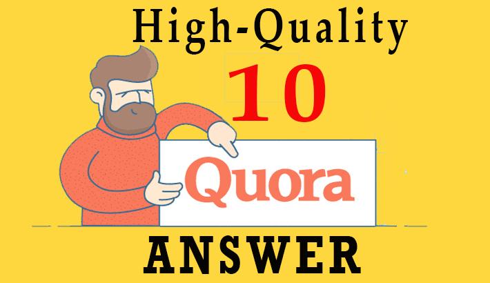I will provide high-quality Niche Relevant 10 Quora Answer