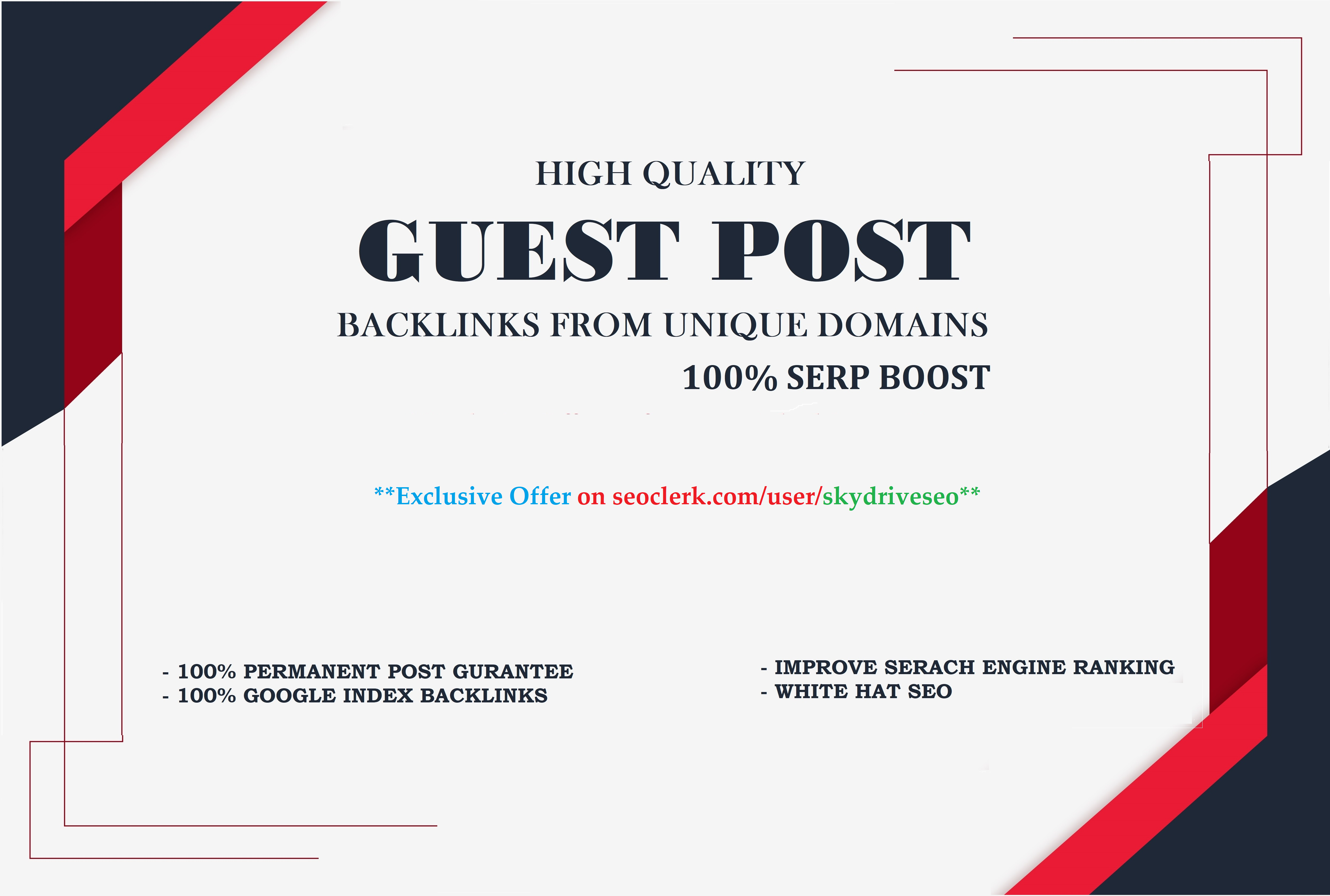 I will do 6 Guest Post on HQ Unique Domains with Dofollow Backlinks up to DA 90