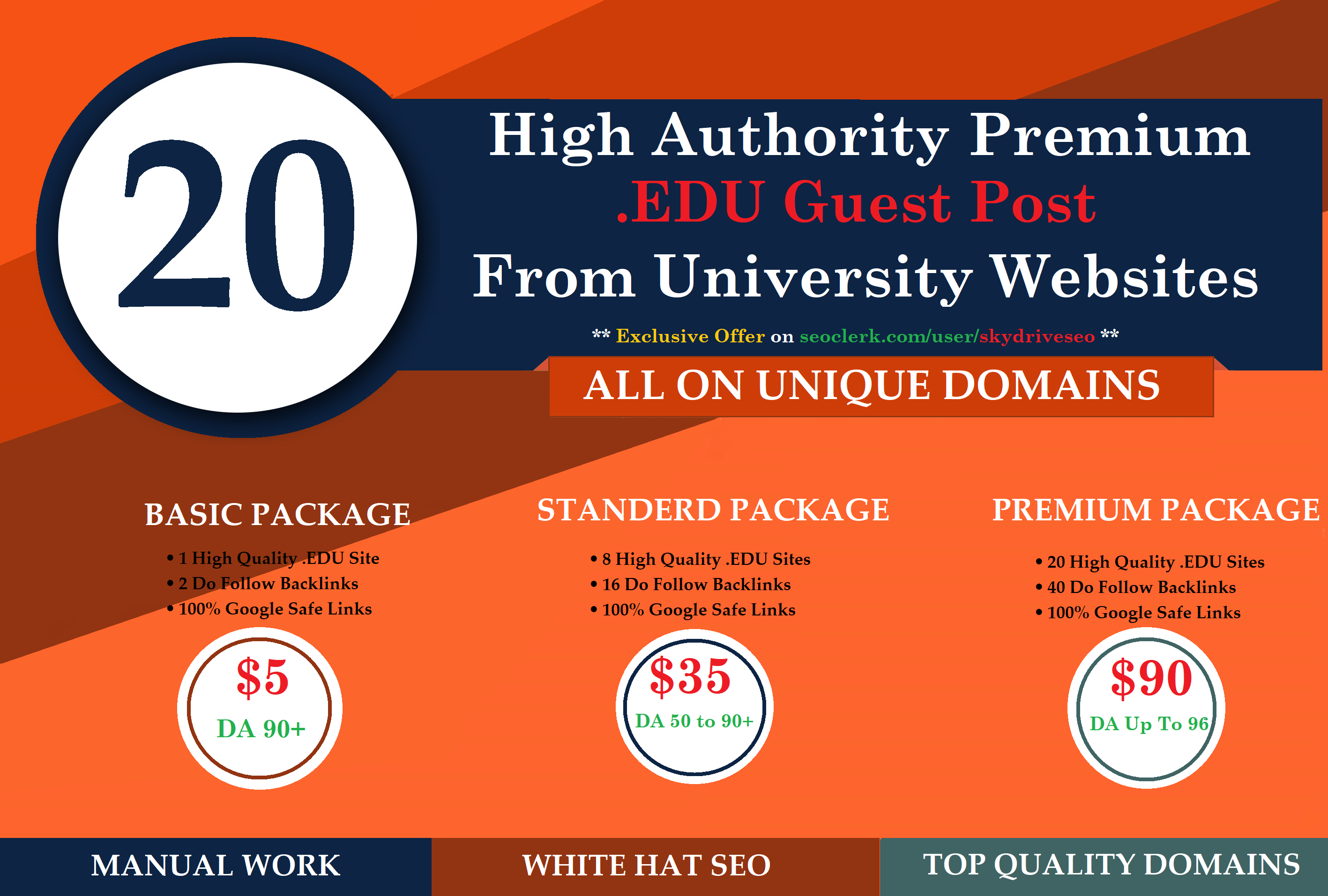 I will Published One Guest Posting Premium University Website DA 90+ with Dofollow Links