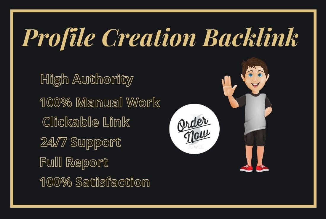 I will create 100 SEO do follow profile backlinks on high authority websites