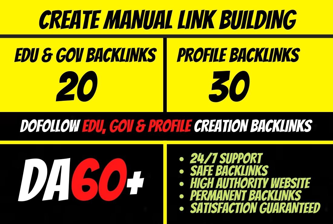 I will 50 dofollow edu, gov & profile backlinks seo link building