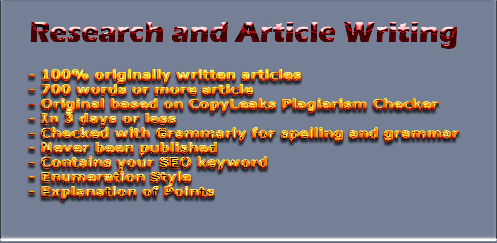 I Will Do The Research And Write Articles For You