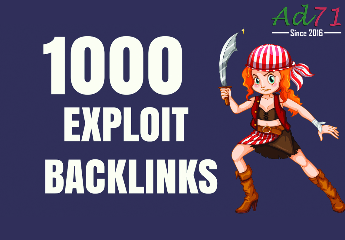 I will provide 1000 Exploit backlinks to push your website on the 1st page of Google