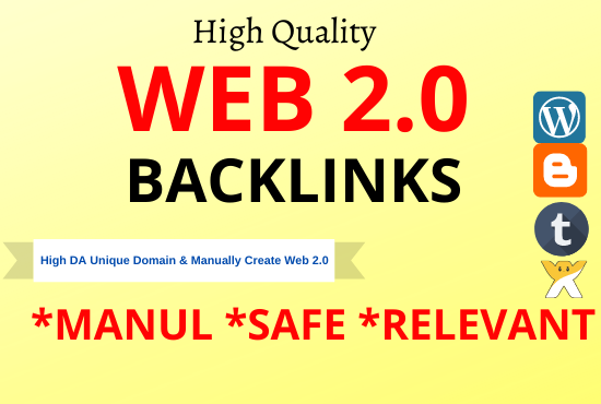 I will create 30 High DA web2.0 high Quality permanent Backlinks